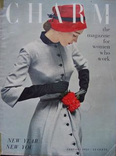 Charm magazine cover featuring a timelessly lovely red, black and grey ensemble, January 1951. #vintage #1950s #fashion
