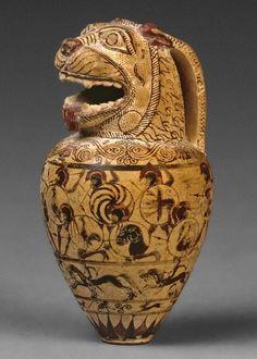 heracliteanfire:  The Macmillan aryballos.Attributed to: The Chigi Painter. Corinth,640BC(via British Museum)