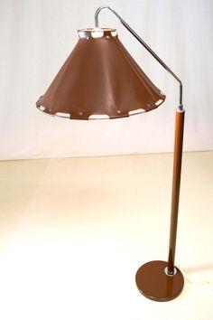 Rare Mid Century Modern Brown Chrome Floor Lamp by OffCenterModern