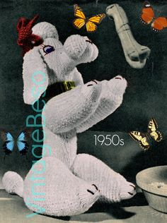 Paulette Poodle KNITTING Pattern 50s Soft Toy Knitting Pattern Dog Knitting Pattern RARE Knitting Pattern Vintage Beso Instant Download PDF by VintageBeso on Etsy