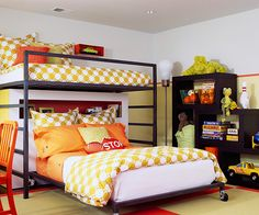 like perpendicular double beds for sharing teen room