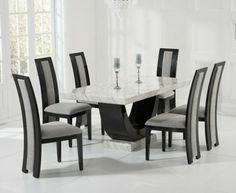 Charmant Raphael Cream And Black Pedestal Marble Dining Table With Verbier Chairs    Marble   Dining Sets   Oak Dining Room Furniture