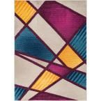 Mystic Broadway Multi 7 ft. 10 in. x 9 ft. 10 in. Bold Shapes Lines Art Deco Modern Area Rug