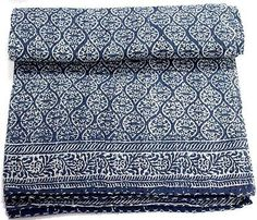 Indian-Cotton-Kantha-Bed-Cover-Bedspread-Hand-Block-Anokhi-Print-Quilt-Throw