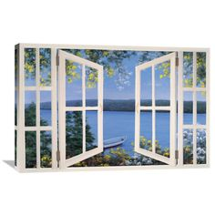 Global Gallery 'Island Time with Window' by Diane Romanello Painting Print on Wrapped Canvas