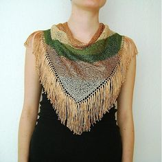 Beige Copper Olive Green Hand Knitted Triangle Scarf by RUKAMIshop