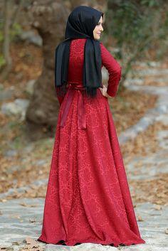 Esra Şua Bordo Jakarlı Kloş Tesettür Abiye Elbise