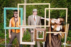 Bronwen & Lou's homemade steampunk kid-friendly fire dancing wedding--- Fun Framed Photo booth