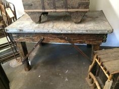 """Primitive Table With Zinc Top  46"""" Wide x 25"""" Deep x 26"""" High   $395  Utopia Antiques Dealer #444  Lucas Street Antique Mall 2023 Lucas Driv... Primitive Tables, Industrial Chic, Entryway Tables, Projects To Try, Elephant, Deep, Antiques, Furniture, Home Decor"""