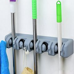 SUMCOO No slide Mop Broom Holder Organizer Wall Mounted Mop Broom hanger HookGarage Shed Organizer And Sports Equipment Tool Holder Rack 5 POSITION ** Find out more about the great product at the image link.