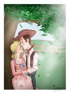 Love it disney kiss, disney couples, disney fan art, disney magic Disney Fan Art, Disney Kiss, Disney Couples, Disney Love, Disney Magic, Toy Story 3, Toy Story Quotes, Bo Peep Toy Story, Disney E Dreamworks
