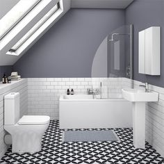 Small Bathroom Suite Ideal for smaller bathrooms - the Venice small bathroom suite features a small projection toilet and basin with a compact bath. Make the most of limited space and look stylish whilst doing so with one of our modern bathroom suites. Small Bathroom Suites, Small Bathroom Renovations, Ensuite Bathrooms, Modern Bathroom, White Bathrooms, Attic Bathroom, Downstairs Bathroom, Loft Ensuite, Glamorous Bathroom