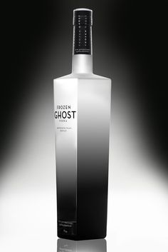 """""""Frozen Ghost Vodka is a new entry in the crowded super-premium vodka marketplace. Arresting packaging is vital to success in this segment, both for the bottle and the box it arrives in. This design capitalizes on what the name suggests, both eeriness and the appetite appeal of a chilled vodka with an ethereally smooth flavor."""""""