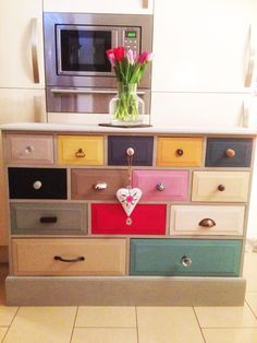 """Thanks Clare Johns - 15 different Annie Sloan colours and 15 different knobs! modify some of the furniture in the playroom with those mellow """"oops"""" paints from HomeDepot Funky Furniture, Upcycled Furniture, Furniture Projects, Furniture Making, Furniture Makeover, Painted Furniture, Bedroom Furniture, Dresser Makeovers, Distressed Furniture"""