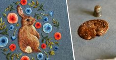 #alhussam Oxford-based illustrator Chloe Giordano embroiders some of the teeniest tiniest animals around. See more at the link.  http://www.thisiscolossal.com/2014/08/tiny-embroidered-animals-by-chloe-giordano/