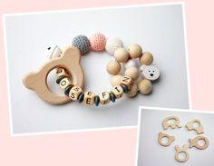 Holzspielzeug - Greifling Bär personalisiert - ein Designerstück von pinuhdesign bei DaWanda