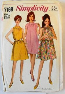 Simplicity 7169 Vintage Sewing Pattern Misses Tent Dress #1960s #dress #ladies #simplicity #vintage #patterns #sewing #retro #vintagestitching