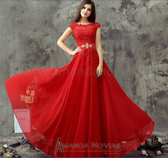 2014 New Arrival Simple And Elegant Red Wedding Dress Real Photos vestido de festa longo