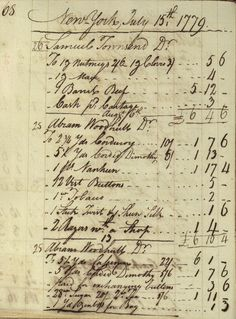 This page of Robert Townsend's ledgers places Abraham Woodhull in Townsend's store on July 15, 1779. This corresponds with a period of Culper dispatches, and suggests Woodhull was probably in the store to pick up dispatches. In the summer of 1779, Woodhull was still traveling to New York frequently.