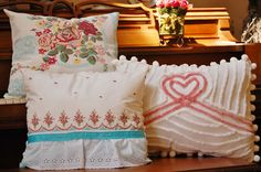 Vintage cottage chic chenille and barkcloth pillow collection. $100.00, via Etsy.
