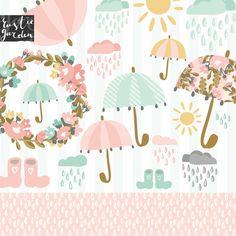 UMBRELLA clipart kit. Floral wreath with pink umbrellas rainy