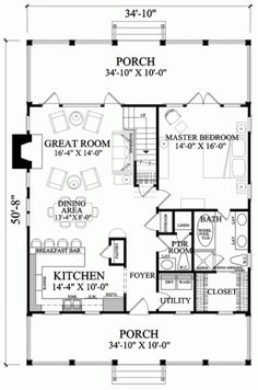 Living room needs about 90 to 100 sq ft added to make it a useful size.  Overall the square footage (including the porches) would be less than 1900 sq feet. changing 2 bedrooms upstairs to 4 bedrooms would make a 5 bedroom house.