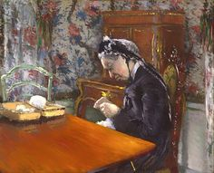 Mademoiselle Knitting Print By Gustave Caillebott