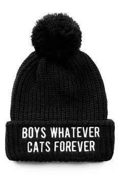 Boys/Cats Pom Pom Beanie [B]