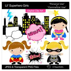 girl superhero clip art digital clipart original, super hero, hero, girls, children - Lil Superhero Girls - Personal and Commercial Use. $5.00, via Etsy.