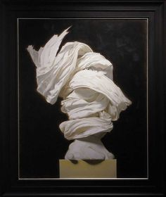 Daniel Adel has a particular fascination with drapery that he expresses in his dynamic oil paintings of sculptures wrapped in cloth. Working out of his studio in the village of Lourmarin in Provenc… Edd, Abstract Sculpture, White Art, Fascinator, Oil On Canvas, Sculptures, Statue, Drawings, Illustration