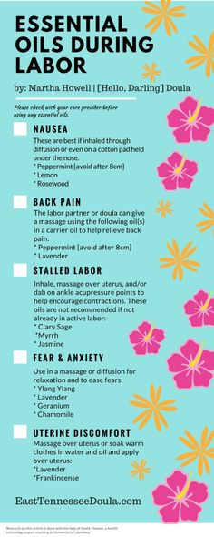 Essential Oils During Labor — for nausea, back pain, stalled labor, fear & anxiety, and uterine discomfort from Doula & Photography (Back Pain Essential Oils). Natural Remedies For Pregnancy Nausea Birth Affirmations, Pregnancy Labor, Pregnancy Nausea, Pregnancy Fashion, Pregnancy Outfits, Birth Doula, Water Birth, Childbirth Education, Essential Oils