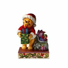 Enesco Disney Traditions by Jim Shore 4016566 Winnie The Pooh Dressed as Santa Holding a Present Figurine, Santa Figurines, Disney Figurines, Christmas Figurines, Collectible Figurines, Disney Statues, Christmas Clay, Christmas Stuff, Christmas Trees, Winnie The Pooh Figurines