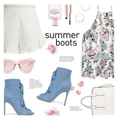 """""""Walk This Way: Summer Booties"""" by catchsomeraes ❤ liked on Polyvore featuring Zimmermann, Gianvito Rossi, Prada, French Connection, Karen Walker, Too Faced Cosmetics, Jennifer Zeuner, white, floral and denim"""