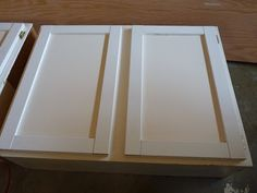 Up-cycle basic flat cabinet doors into Shaker Style doors. Looks pretty easy.