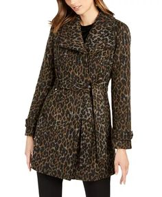 Asymmetrical Leopard Print Belted Coat, Created for Macy's - Safari Leopard Coats For Women, Clothes For Women, Belted Coat, Unisex Baby Clothes, Leggings Are Not Pants, Jacket Dress, Wool Blend, Outfits, Jackets