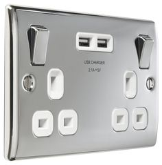 Masterplug 13 A 2 Gang Polished Chrome Switched Socket with 2 x USB Port - White Insert Garage Extension, Extension Ideas, Garage Remodel, Wall Outlets, Polished Chrome, Plugs, Usb, Kitchen Appliances, Amazon