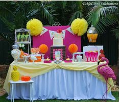 Gorgeous tropical party table and decorations! See more party ideas at CatchMyParty.com!