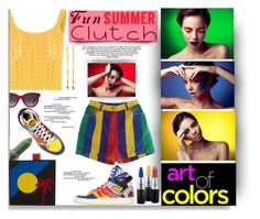 """""""Fun Summer Clutch"""" by fassionista ❤ liked on Polyvore featuring MAC Cosmetics, Les Petits Joueurs, Glamorous, adidas Originals and Alexander McQueen"""