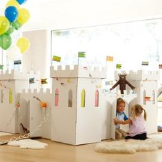 Large Cardboard Castle Playhouse to Decorate and Play Inside