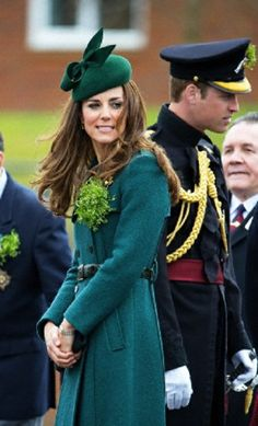 Catherine, Duchess of Cambridge, and Prince William, Duke of Cambridge, attend the St. Patrick's Day parade for the Irish Guards Regiment at Mons Barracks in Aldershot, London, Britain, 17.03.14.