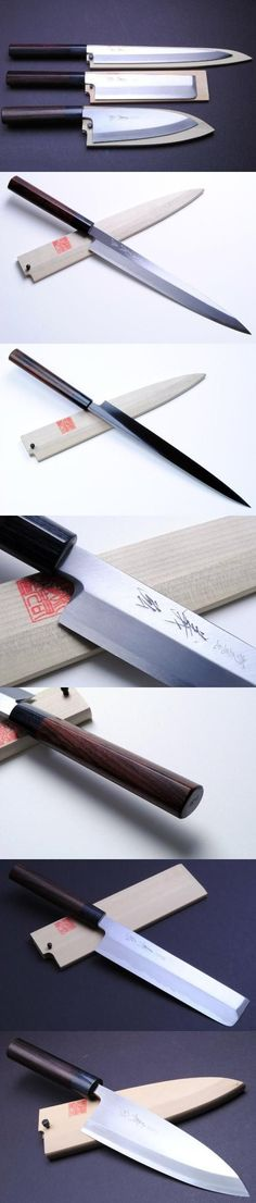 YOSHIHIRO- Japanese Sushi Chef Kasumi Knife Shitan 3p Set [Yanagi270/Usuba195/Deba180], Kasumi means mist in Japanese. The border of the blade on a Kasumi has beautiful waves that look like a mist. It is made of two materials; blue or white steel and soft iron. The waves are the border o..., #Kitchen, #Chef's Knives