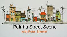 How to paint a doodle drawing of a houses with a water brush QUICK, EASY...