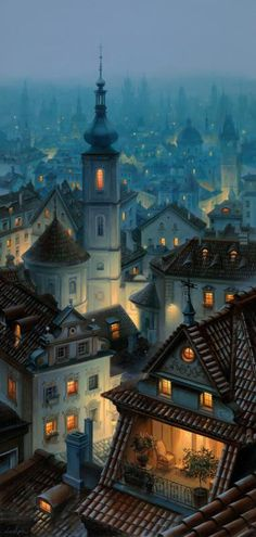 Somewhere in an Ancient Town, Evgeny Lushpin art: Originals and Giclee Prints