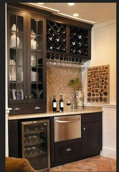 Check Out 35 Best Home Bar Design Ideas. Home bar designs offer great pleasure and a stylish way to entertain at home. Home bar designs add values to homes and beautify the game room and basement living spaces. Home Wine Bar, Wet Bar Designs, Bar Designs For Home, Wet Bars, Butler Pantry, Basement Remodeling, Basement Ideas, Basement Bars, Remodeling Ideas
