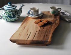 Footed Cutting Board Maple Serving Tray Rustic Cheese Platter Breakfast in Bed Gift for Women. $91.00, via Etsy.