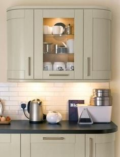 Kitchens wall cabinets as practical addition Full-Height Curved and Glass Wall Units with Internal Glass Shelves Kitchen Wall Cabinets, Glass Shelves Kitchen, Glass Cabinet Doors, Kitchen Wall, Kitchen Decor Modern, Glass Shelves, Curved Kitchen, Kitchen Wall Units, Kitchen Cabinets