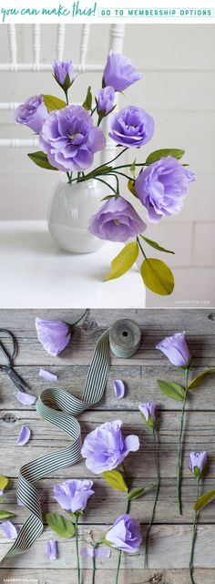 Easy DIY Crepe Paper Lisianthus Tools, Steps and Tutorial We're loving the gorgeous purple hue of this crepe paper Lisianthus. We've outlined all the tools, materials and steps you need to make your own here. Handmade Flowers, Diy Flowers, Fabric Flowers, Diy Paper, Paper Art, Diy Fleur, Fleur Orange, Tissue Paper Flowers, Paper Flower Making