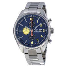 ESQ Movado® Catalyst Chronograph Blue Dial Stainless Steel Bracelet Men's Watch [7301446]