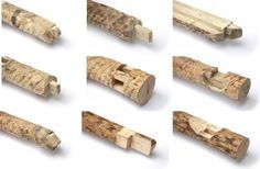 Traditional timber joints were adapted to be usable with raw, irregular logs. These joints have subsequently been produced using a chainsa...