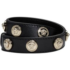 Versace Black Medusa Wrap Bracelet (6.619.265 IDR) ❤ liked on Polyvore featuring jewelry, bracelets, black, accessories, versace, studded wrap bracelet, adjustable bangle, versace jewellery and versace jewelry